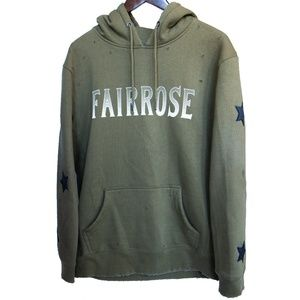FairRose Embroidered Distressed Star Patch Hoodie